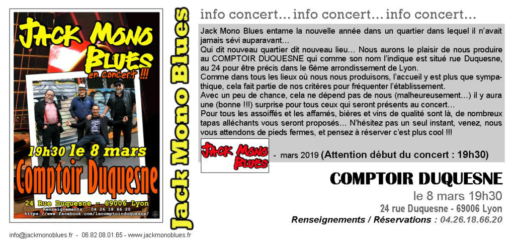 INVITATION COMPTOIR DUQUESNE MARS 2019
