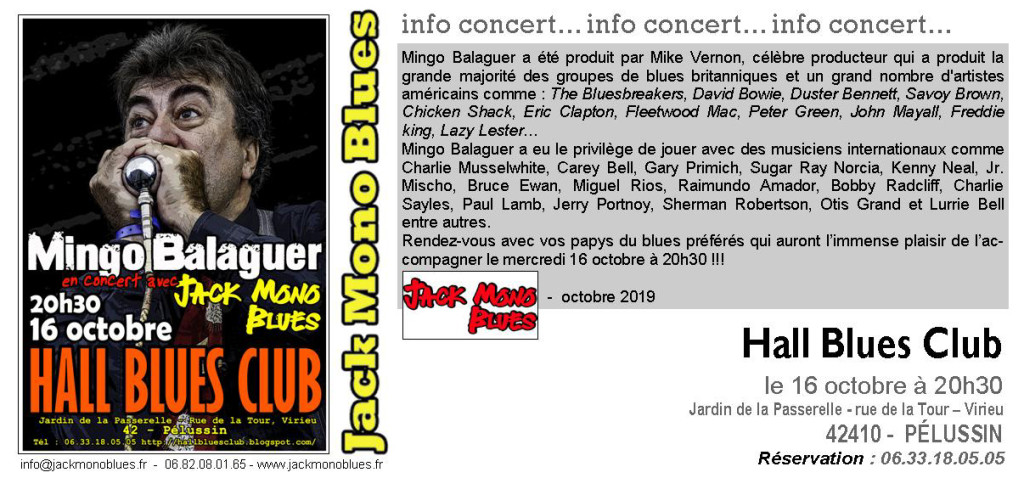 HALL BLUES CLUB Mingo octobre 2019